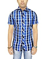 AA' Southbay Men's Blue Checks 100% Premium Cotton Half Sleeve Business Casual Shirt