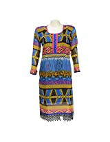 Mannmohini Chikan Women Faux Georgette Multi-Coloured Kurti (Size : 45)