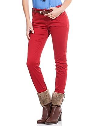 Cortefiel Pantalón Slim Algodón Canutillo (Rojo)