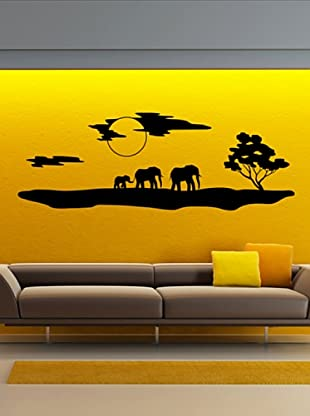 Vinilo El paisaje y los elefantes de África Negro