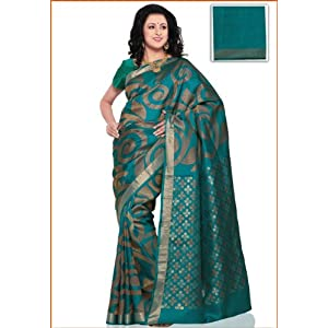 Turquoise Blue Pure Kanchipuram Handloom Silk Saree With Blouse