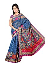 Khushali Women's Printed Multi Color Bhagalpuri Brasoo Saree With Unstitched Blouse Piece (Blue)