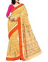 Unnati Silks Women cream pure Nagaland handloom cotton tant checks sari
