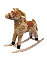 Trademark Global Happy Trails ? Horse Plush Rocking Horse - Wooden Rocker