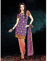 Crepe Printed Purple Unstitched Churidar Suit - BNJ3005
