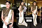 Indian replica ethnic kareena kapoor white cottone saree