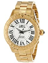 Invicta Men's 14379 Pro Diver Silver Textured Dial 18k Gold Ion Plated Stainless Steel Watch
