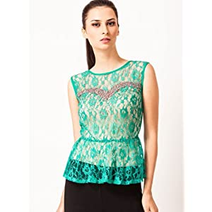 Peplum Top With Sequin And Bead Embellishment