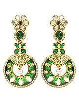 Peora Green Sheen Enamel Earrings for Women