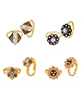 R S Jewels Gold Plated Cz Stone Flora Toe Rings Combo Pack Of 4 Pair