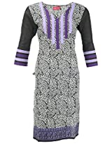Kraft Corridor Women's Cotton Kurti (AUG005_XXL-44, Black & White Print, XXL-44)