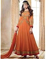 Mugdha Orange Semi Stitched Anarkali Suit