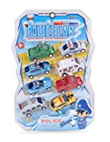 smiles creation Set of 8 Police Car Pull Back Series Toy