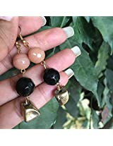No Strings Attached Beige Black and Gold Earthy Faceted Stone Earrings