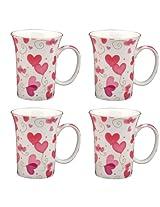 Gracie Bone China 10-Ounce Trumpet Mug, Pink Lucy's Love, Set of 4