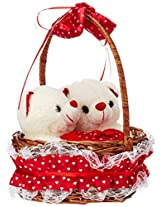 Archies Soft Toy Twin Teddy in Basket, Multi Color (30cm)
