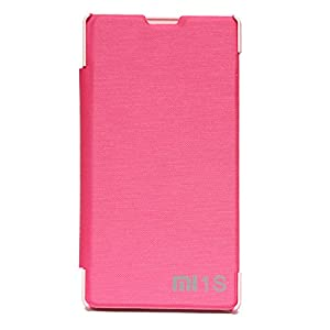 Bright Pink Colored PU Edition Leather Material Folio Flip Cover Case for Xiaomi Redmi 1s by DMG