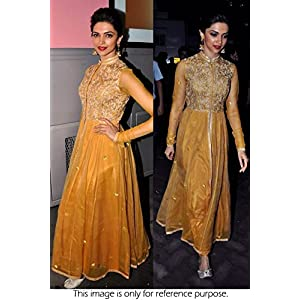 Bollywood Replica Deepika Padukone Net and Dhupion Suit In Yellow Colour NC847