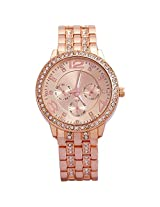 Geneva Rhinestone collection Stainless steel strap RoseGold color dial Men's watch