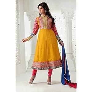 Orange Faux Georgette with Resham,Zari,Stone,Cutdana,Border Work Unstitched Anarkali Salwar Kameez Suit