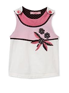 Beetlejuice London Girl's Paneled Top with Polka-Dot Trim (White)
