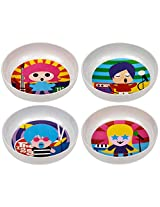 French Bull - BPA Free Kids Bowls - Melamine Kids Bowl Set - Kids Dinnerware - Rock Star, Set of 4