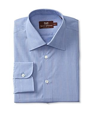 Hickey Freeman Men's Glen Plaid Dress Shirt (Blue)