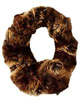 La Fiorentina Women's Crinkle Faux Fur Eternity Muffler, Brown, One Size