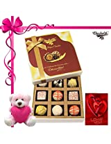 Heavenly Treat Of Chocolate With Card And Teddy - Chocholik Belgium Chocolates