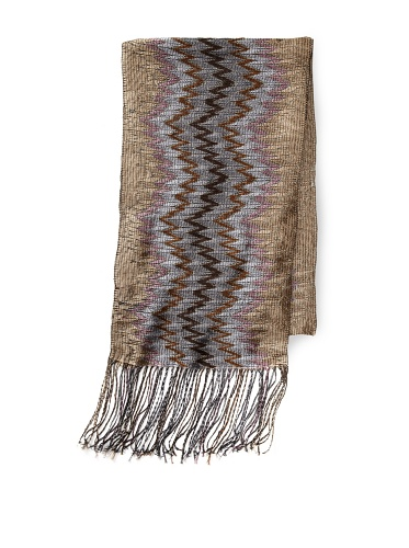 Missoni Women's Open Weave Zigzag Scarf, Taupe/Silver