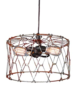 Shades of Light Aged Metal Cage Drum Shade Pendant - Small