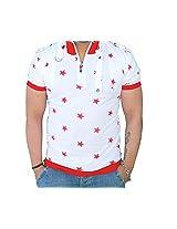 Black Collection Men's Half-Zip Cotton T-Shirt (BCSA0001_White & Red_Large)