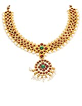 FashionAtelier One Gram Gold Plated Dance Temple Jewellery Kemp Stone Necklace