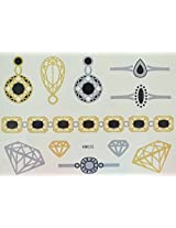 Spestyle Waterproof Tattoos Jewelry Chain And Diamond Silver And Golden Glitter Temporary Tattoo Stickers