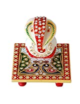 Crafts Paradise Marvellous Marble Ganesha Idol with Peacock design Chowki puja articles Rajasthani Handicrafts Art Antique Decorative Unique all occasion Gift product (Size: 4/4 inch)