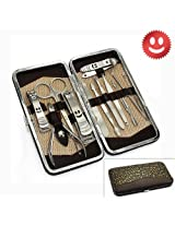 12PCS Big Smile Nail Care Personal Manicure & Pedicure Set, Leather Travel & Grooming Kit, Tool Clipper By Binnbox