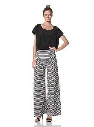 Norma Kamali Women's Wide Pleat Pant (Black/White Stripe)