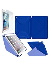iPad Air 2 Case - roocase Origami 3D iPad Air 2 2014 Slim Shell Folio Cover with Tempered Glass Screen Protector for Apple iPad Air 2 (2014), Palatinate Blue / Aruba Blue