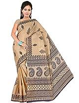 Pavecha's Women's Beige Venkatgiri Saree -MK305