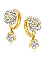 Meenaz Bali Earrings For Girls And Women Silver Plated In American Diamond Cz B174