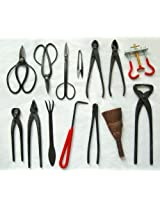 14-pc Bonsai Tool Set Carbon Steel: with case