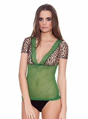 ROBERTO CAVALLI INTIMO Camiseta Topitos/Animal print (Verde)