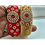 Multi coloured Designer Kada. One in Red colour and one in Gold colour.