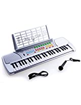 D Luca Children 49 Keys Electronic Piano Music Keyboard Silver