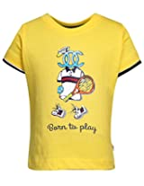 Ollypop T-Shirt Half Sleeves Born To Play Print - Yellow