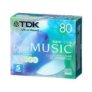 【クリックでお店のこの商品のページへ】TDK CD-R 音楽用 80分 カラーミックス インクジェットプリンタ対応 5枚パック CD-RDE80CPMX5N: パソコン・周辺機器