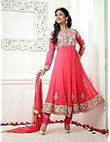 VandV-Defuse Fashion Designer Pink Long Anarkali Suit