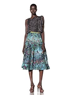 Gregory Parkinson Women's Tiered Silk Linen Skirt (Jade)