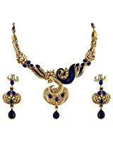 Vivanta Blue Gold Plated Necklace And Earrings Set For Women (VD-N124)