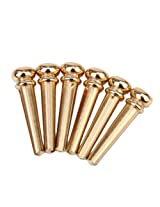 Generic 6pcs Brass Bridge Pins for Acoustic Guitar - Golden
